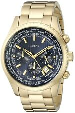 New Guess Men U0602G1 Chronograph Black Dial Stainless Gold IP Band Watch