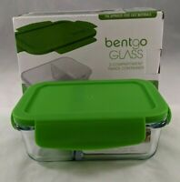 Bentgo Glass Snack 2 Compartment Food Storage Container Green Lid Leak Proof