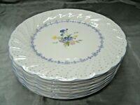 "Vtg Nikko BLUE PEONY Set of 7-7 7/8"" Salad Plates Floral Dots Disc'd Japan EUC"