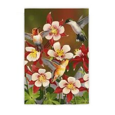 Flurry of Hummingbirds Columbine flowers Spring & Summer Small Garden Flag