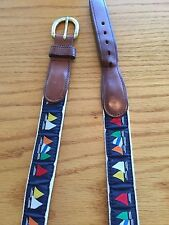 PRESTON BELTS NAUTICAL SAILING BOATS SHIPS MENS BELT FABRIC W/ LEATHER 38