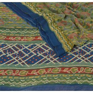 Sanskriti Vintage Pure Georgette Silk Sarees Green Printed Sari Craft Fabric