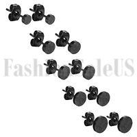 Black Round Shaped Women Men Matte Pierced Earrings Ear Studs Stainless Steel