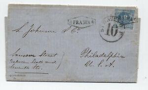 1861 Peru to Philadelphia ship cover NY steamship [F.8]