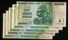 5 x 50 Million Zimbabwe Dollars Bank Notes AA 2008 Currency Paper Money Lot 5PCS