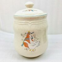 "Vintage International Marmalade Geese Pear Ceramic Pottery Canister 9.5"" Height"
