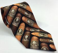 Ralph Marlin Cigar Money Band Vintage 1997 Men's Neck Tie Brown President 57/3.5