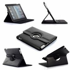 Black Rotating iPad  AIR 2 Smart PU Leather Case Cover  BLACK + Screen Protector