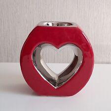 Teelichthalter Herz Keramik rot-silber 12cm x 12cm formano