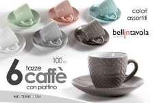 SET 6 TAZZINE CAFFE CON PIATTINO COLORI ASSORTITI DECORO CAFFE SIZ-723513