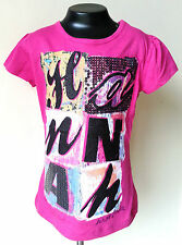 Disney HANNAH MONTANA Kids Children Girls T-SHIRT Pink / Grey - Glitter Sequins