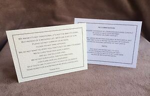 Personalised A6 insert cards- wedding info, gift poems, menus
