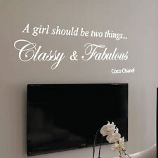 Coco Chanel Classy Et Fabuleux Fashion Art Wall Stickers citation Wall Decals FR