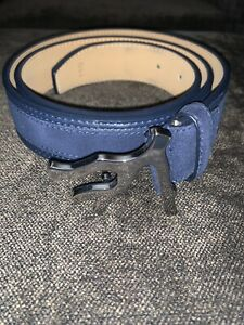 NEW ISAIA Navy Blue Suede / Leather Belt - 110 - Silver Coral Buckle