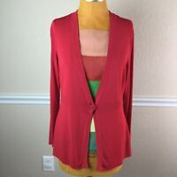 New York and Company Womens Cardigan Sweater Red Long Sleeve Stretch Size L