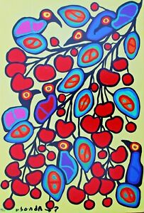 Norval Morrisseau Hand Numbered Edition Cherry Branch Mounted Canvas COA
