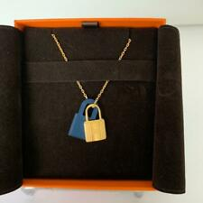 Hermes O'Kelly Pendant Necklace Deep Blue  and Gold 20 years on eBay