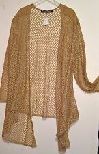 FRENCH BAZAAR Womens Size XXL Beige open Tunic Top ~ Coverlet ~ 3/4 Sleeves