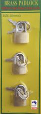 22 mm 3pcs Brass Pad Lock with 2 keys A0026
