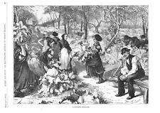 Gathering Rhubarb   -   Harvesting of Crops    -  1870 Antique Print