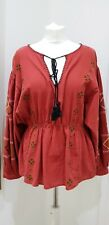 ZARA TRF Boho Red Embroidered Folk Cotton Long Sleeve Top Size L