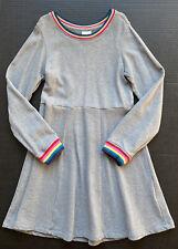 Girls 130 (8) HANNA ANDERSSON Gray Rainbow Trim Sweatshirt Skater Dress~Fall BTS