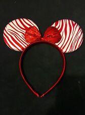 1pc Minnie-Mickey Mouse Ears Headband Red Zebra Bow Ears-Disney Costume