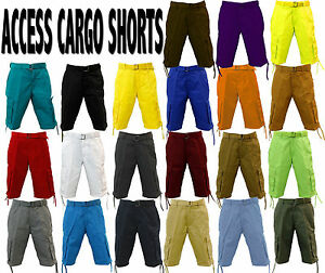 ACCESS 21 DIFFERENT COLORS OF SOLID MEN CARGO SHORTS AS1505