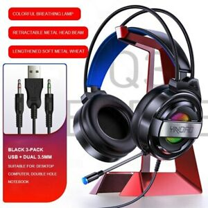 Professional Gamer Headset 7.1 Sound Track Colorful LED Light Mic Double 3.5 mm