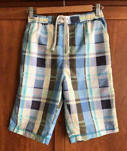 M&S BOYS BOARD SHORTS Age 13-14 Blue Plaid Check Beach Long Trunks Pockets Net