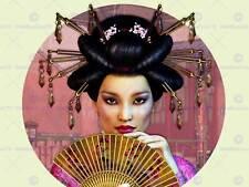 ASIAN LADY WOMAN GEISHA ORIENTAL FAN PHOTO ART PRINT POSTER PICTURE BMP2157A