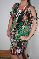 Kaftan Dress Black Palm Print Cold Shoulder Stretchy Soft Cool Feel Stretchy NEW