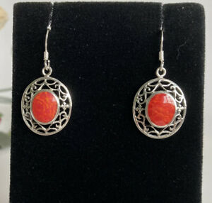 925 Silver Filigree Red Coral Earrings