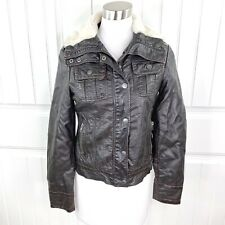 Miss Sixty M60 Women's Brown Vegan Leather Bomber Jacket Faux Fur Size Small S