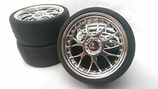 RC Car 1/10 EP 26mm 3mm OFFSET Wheel Rim insert SLICKS Tyre Tire Y Spoke Chrome