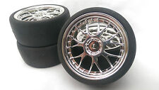 RC Auto 1/10 EP 26mm 3mm OFFSET CERCHIONE Inserisci chiazze PNEUMATICO TIRE Y SPOKE CHROME