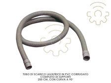 Tubo scarico lavatrice Pvc corrugato curva 90° supporti lunghezza 200 cm lavatri