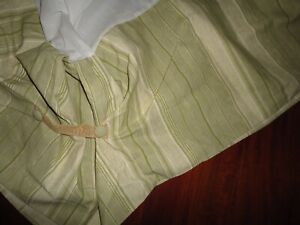 "WAVERLY GREEN PALM STRIPE BUCKLES KING BEDSKIRT 16"" DROP NOT SPLIT"