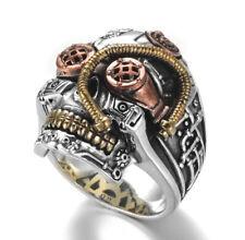 Skull Head Machine Art Craft Gold Plated Stainless Steel Men's Ring M127