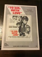 Movie Film Sheet Music TO SIR, WITH LOVE Lulu Sidney POITIER 1967