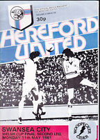 1980/81 HEREFORD UNITED V SWANSEA CITY 11-05-1981 Welsh Cup Final 2nd Leg