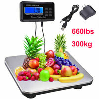 660lbs/0.1lb Electronic Digital Scale Floor Bench Shipping Postal Scale Platform