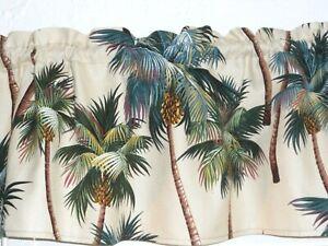 Tropical Hawaiian 100% Cotton Barkcloth Upholstery Fabric VALANCE ~Palm Trees~