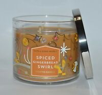 BATH & BODY WORKS SPICED GINGERBREAD SWIRL SCENTED CANDLE 3 WICK 14.5OZ LARGE
