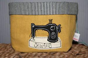 Poppy Treffry BNWT embroidered Singer sewing machine storage pot linen & cotton