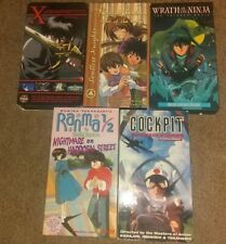 Wholesale Lot 5 Anime VHS  X, Soulless Knights, Wrath of the Ninja,Cockpit,
