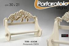 PORTA ROTOLO CUCINA IN LEGNO BIANCO/MARRONE 30*21CM DECORO ROSE TOD-614248