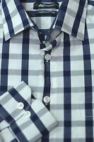 KENZO Jeans Men's Navy & White Check Luxury Cotton Casual Shirt S Small