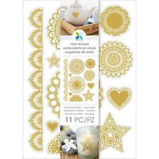 Gold Foil Doilies Vinyl Stickers by Momenta - One 6x8-1/4 Inch Sheet