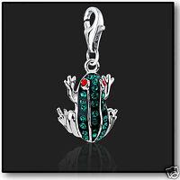 925 Sterling Silver Frog clip on Bracelet Charm Swarovski Crystal 3D Charms